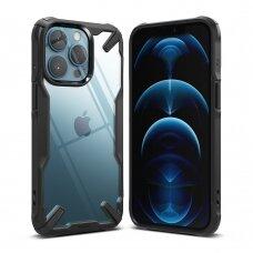 AKCIJA! iphone 13 pro max dėklas Ringke Fusion X TPU Bumper juodais kraštais