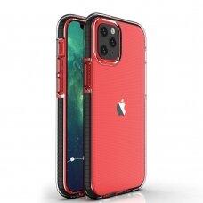 Iphone 12 mini dėklas Spring Case skaidrus juodais kraštais