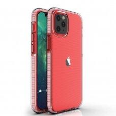 Iphone 12 mini dėklas Spring Case skaidrus rožiniais kraštais