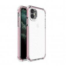 akcija! Iphone 11 dėklas sutvirtinais kampais Spring Armor clear TPU rožiniais kraštais