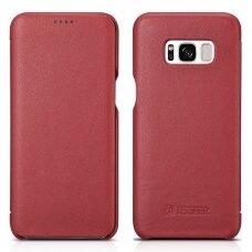 Akcija! Samsung galaxy S8 odinis atverčiamas dėklas iCarer raudonas