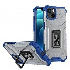 Akcija! iPhone 13 dėklas Crystal Ring Kickstand Tough Rugged mėlynais kraštais
