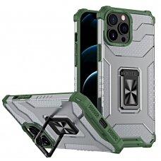 Akcija! iPhone 13 Pro dėklas Crystal Ring Kickstand Tough Rugged žaliais kraštais