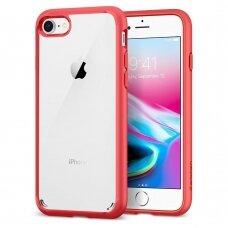 Akcija! Iphone 7/8/SE 2020 Spigen Ultra Hybrid 2 skaidrus raudonais kraštais