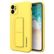 Iphone 11 Pro Max dėklas WOZINSKY KICKSTAND geltona