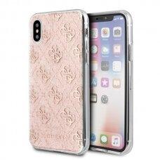 akcija! Iphone x / xs originalus dėklas GUESS  Glitter rožinis su blizgučiais