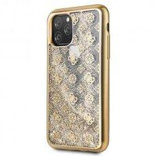akcija! Iphone11 pro originalus dėklas GUESS Peony Liquid Glitter auksinis viduje su blizgučiais
