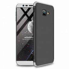 Akcija! Samsung Galaxy J4 Plus 2018 HURTEL dėklas dvipusis 360 plastikas sidabrinis-juodas