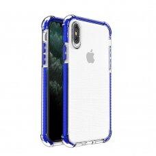 Iphone X/Xs dėklas Spring Case skaidrus mėlynais kraštais