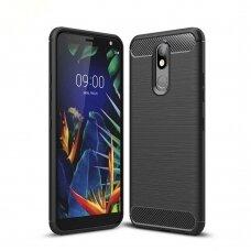 Akcija! LG K40 X420 Dėklas Carbon Case TPU Juodas