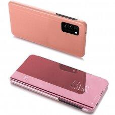 akcija! Samsung A32 4g  atverčiamas dėklas Clear View veidrodiniu-permatomu dangteliu rožinis