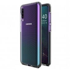 Akcija! Samsung A40 dėklas Spring Case TPU skaidrus juodais kraštais