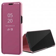 Akcija! Huawei P20 Lite atverčiamas dėklas Clear View veidrodiniu-permatomu dangteliu rožinis