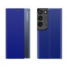 akcija! samsung galaxy S21 ultra atverčiamas išmanus dėklas New Sleep Case mėlynas