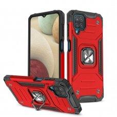 Akcija! Samsung Galaxy A12 dėklas Wozinsky Ring Armor raudonas