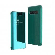 Akcija! Samsung galaxy s10 atverčiamas dėklas Flip View veidrodiniu-permatomu dangteliu smaragdinis
