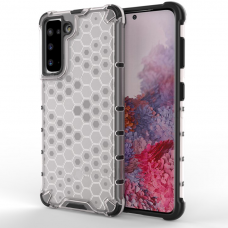 Akcija! Samsung Galaxy S21 dėklas Honeycomb armor TPU Bumper skaidrus-permatomas