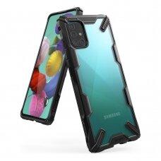 Akcija ! Samsung galaxy A51 dėklas Ringke Fusion X PC plastikas+TPU juodas