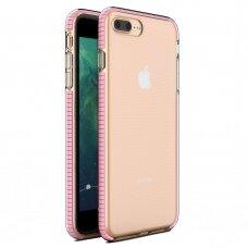 Akcija! Iphone 7 Plus/8 Plus dėklas Spring Case TPU skaidrus šviesiai rožiniais kraštais