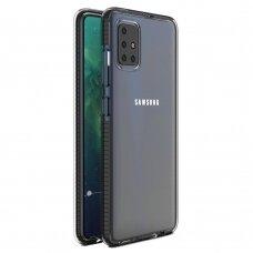 Samsung Galaxy A51 dėklas Spring Case TPU skaidrus juodais kraštais