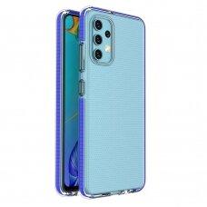 Samsung Galaxy A32 4G dėklas Spring Case TPU skaidrus tamsiai mėlynais kraštais