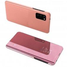 Akcija! Samsung Galaxy A52 / 52 5g atverčiamas dėklas Clear View veidrodiniu-permatomu dangteliu rožinis