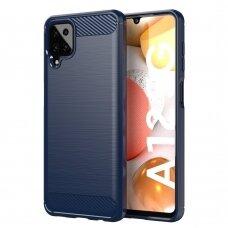 """Akcija! Samsung galaxy A12 dėklas """"Carbon case"""" TPU tamsiai mėlynas"""