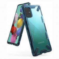 Akcija ! Samsung galaxy A51 dėklas Ringke Fusion X PC plastikas+TPU mėlynas