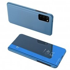 Akcija! Samsung Galaxy A72 atverčiamas dėklas Clear View veidrodiniu-permatomu dangteliu mėlynas