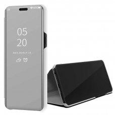Akcija! Samsung Galaxy A51 ATVERČIAMAS DĖKLAS CLEAR VIEW VEIDRODINIU-PERMATOMU DANGTELIU sidabrinis