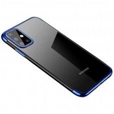 """Akcija! Samsung Galaxy S20 FE TPU dėklas """"Electroplating"""" mėlynais kraštais"""