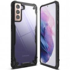 Akcija ! Samsung galaxy S21 dėklas Ringke Fusion X PC plastikas+TPU juodas