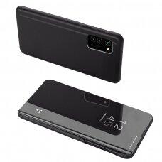 Akcija! Samsung Galaxy A72 atverčiamas dėklas Clear View veidrodiniu-permatomu dangteliu juodas
