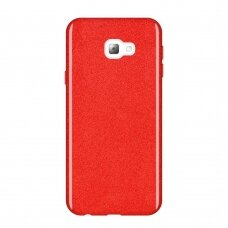 Akcija! Samsung Galaxy J4 Plus dėklas Wozinsky Glitter raudonas