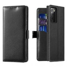 Akcija! Samsung Galaxy Note 20 dėklas piniginė DUX DUCIS KADO juodas