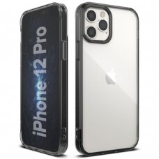 AKCIJA! iphone 12 dėklas Ringke Fusion TPU Bumper juodais kraštais