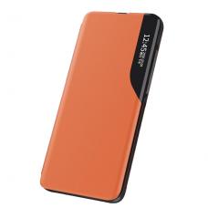 Samsung Galaxy S10 Plus atverčiamas dėklas Eco Leather View oranžinis