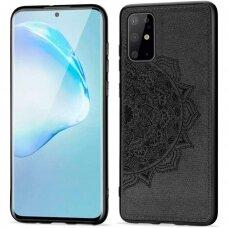 Akcija! Samsung galaxy s20 fe dėklas Mandala TPU+ medžiaginis pluoštas juodas