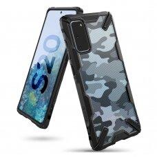 Akcija! Samsung Galaxy S20 dėklas Ringke Fusion X plastikas+TPU kamufliažinis juodas