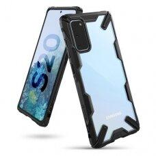 Akcija! Samsung Galaxy S20 dėklas Ringke Fusion X plastikas+TPU juodas