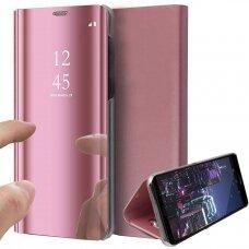 Akcija! Samsung Galaxy S20FE atverčiamas dėklas Clear View veidrodiniu-permatomu dangteliu rožinis