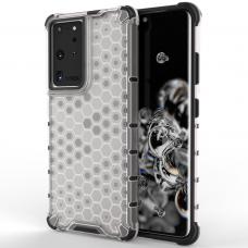 Akcija! Samsung Galaxy S21 Ultra dėklas Honeycomb armor TPU Bumper skaidrus-permatomas