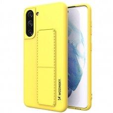 Akcija! Samsung Galaxy S21 dėklas WOZINSKY KICKSTAND geltonas
