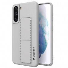 Akcija! Samsung Galaxy S21 dėklas WOZINSKY KICKSTAND pilkas