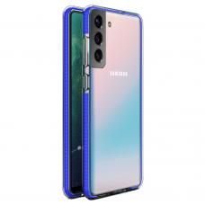 Akcija! Samsung Galaxy s21 plus skaidrus TPU dėklas Spring Case mėlynais kraštais