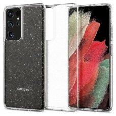 Akcija! Samsung Galaxy S21 ultra dėklas Spigen Liquid Crystal TPU skaidrus blizgus