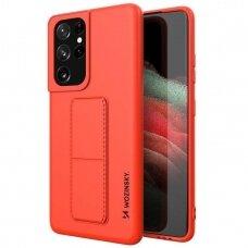 Akcija! Samsung Galaxy S21 Ultra dėklas WOZINSKY KICKSTAND raudonas