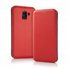 AKCIJA! Samsung Galaxy J6 Plus 2018 atverčiamas dėklas Smart Diva eko oda raudonas