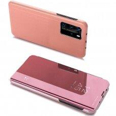 Akcija! Xiaomi mi 10T / 10T pro ATVERČIAMAS DĖKLAS CLEAR VIEW VEIDRODINIU-PERMATOMU DANGTELIU rožinis