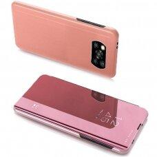 Akcija! xiaomi Poco X3 NFC ATVERČIAMAS DĖKLAS CLEAR VIEW VEIDRODINIU-PERMATOMU DANGTELIU rožinis